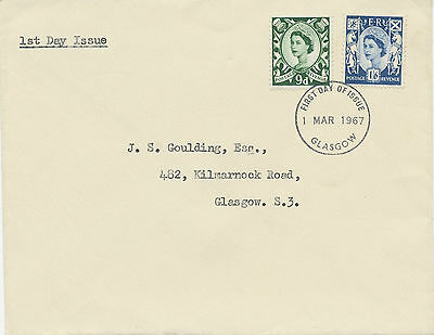 2414 REGIONALS SCOTLAND 1967 9 D and 1 Sh. 6 P both with phosphor superb FDC