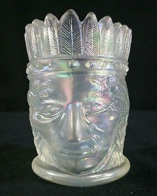 Vintage Opalescent Joe St Clair Indian Carnival Glass Toothpick Holder 2.75 EXC