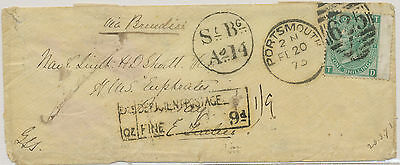"2468 1873 underpaid double-letter rate SOLDIERS MAIL ""PORTSMOUTH - BOMBAY"" RR!!"