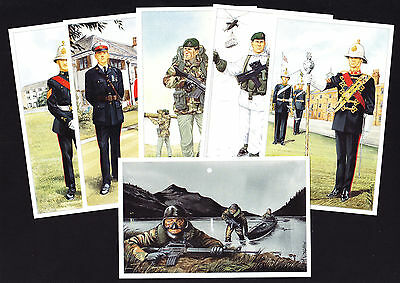 SET OF SIX Modern Royal Marines Postcards Artist Illustrated 1990s era