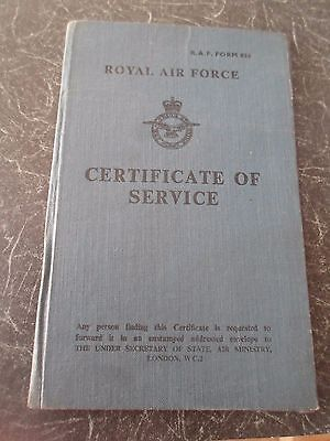 Vintage Royal Air Force Certificate of Service Cpl Keith Frederick Dunn 1953