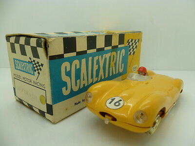 Scalextric C60 D Type Jaguar in Yellow, mint car boxed