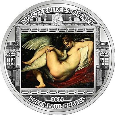 2014 Cook Islands 3oz Silver Proof Masterpieces of Art Leda and Swan P. Reubens
