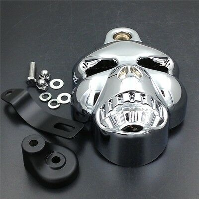 Fit For Big Twins V-Rods Stock Cowbell 1992-2013 CHROME Skull Horn Cover