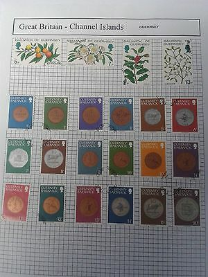 CHANNELL ISLANDS Guernsey ALBUM SHEET OF STAMPS   ( 2 )   USED
