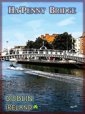 Ha'Penny Bridge Dublin Ireland Irish Travel Advertisement Poster Picture Print