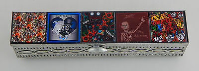 Mexican Tin Jewelry Box Hand Made Folk Art Day Of The Dead 5 stamps