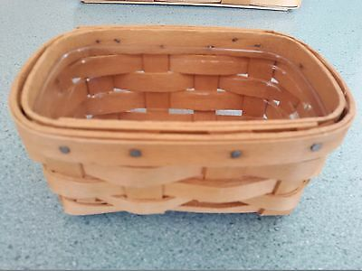 Longaberger Business Card Basket in warm brown with protector Ready to ship
