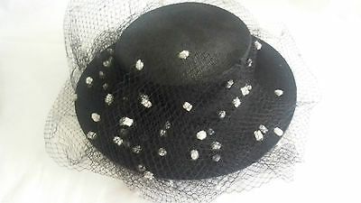 ladies black sisal hat with black and white dot netting