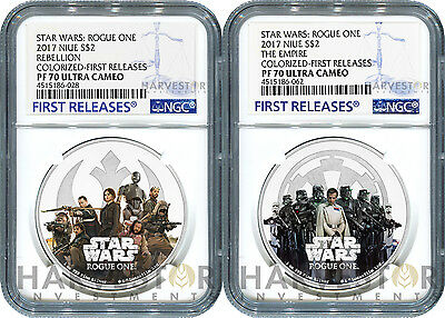Star Wars Rogue One 2-Coin Set - Empire Rebel Alliance - Ngc Pf70 First Releases
