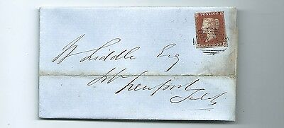 Qv 1D Red Imperf 1852 Newport Entire