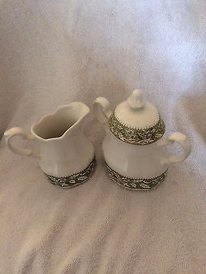 J & G Meekin English Ironstone Sugar Bowl & Creamer~White & Resaissance Green