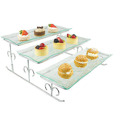 3 Tier Food Server Tiered Serving Platter Stand Dessert Tray Display Plate Rack
