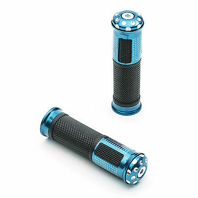 Motorcycle Handlebar Soft Grips 7/8 22mm Blue Alloy Bar End Weight Motorbike