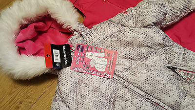 Brand New Pink and Grey Weatherproof Girls Jacket & bib pants Age 4 years