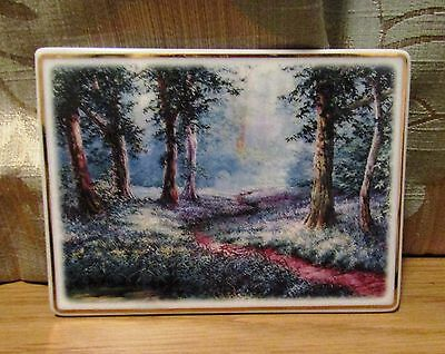 Collectable China/Porcelain Postcard Plaque. Bluebells in Spring by D Crane 2006