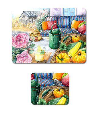 COUNTRY LIFE Set of 6 Placemats and Coasters Cork Back