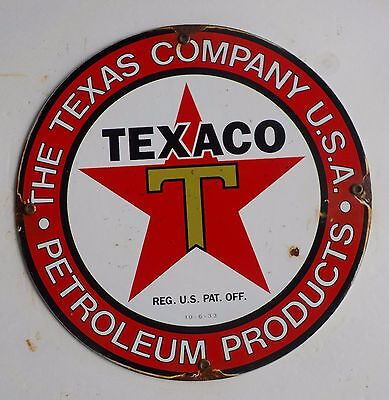Nice Texaco Gasoline Porcelain Sign Gas And Oil Pump Plate No Reserve Auction