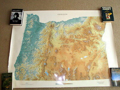 "Raven Maps Oregon State Shaded Relief Map 56"" X 44"" Euc"