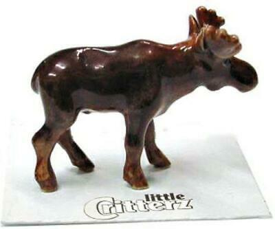 "Little Critterz Miniature Porcelain Animal Figure Young Moose ""Nomad"" LC115"