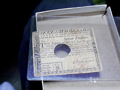 New Hampshire Continental Currench $7.00 Bill 1786