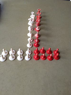 Antique Miniature Red And White Chess Set With Wood Box