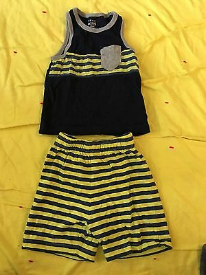 Baby Boy Toddler Outfit Set Sleeveless Shirt And Shorts Size 12-18 Months