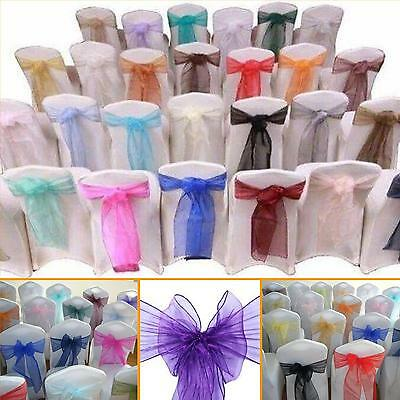 25 ORGANZA WEDDING CHAIR SASHES. Wider Sash for Fuller Bows. Trusted UK Seller