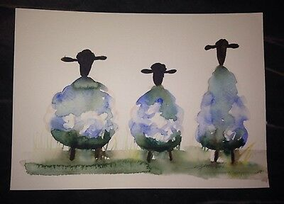 ORIGINAL WATERCOLOUR blue sheeps painting A4 SIGNED NEW abstract modern 2017