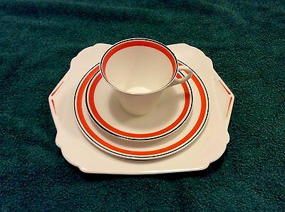 SHELLEY Bone China 4- Pieces - Regent Shape - Art Deco Design. VGC.