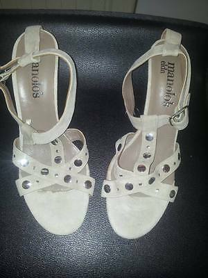 Ladies Gorgeous Suede Leather Manolo's Shoes/sandals Beige Studded Size Uk 6.5
