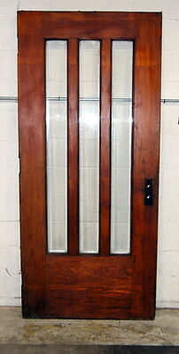 "Antique 1910s Arts & Crafts Pine Entry Door w/ Beveled Glass, 38"" x 84"""