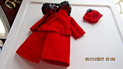 "Vintage Barbie 1964 ""It's Cold Outside"" Red Coat and Hat #0819"