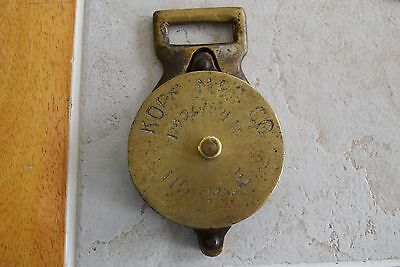 Antique Vintage Solid Brass Pulley Nautical Industrial Marked Kopf Mgf. Co.