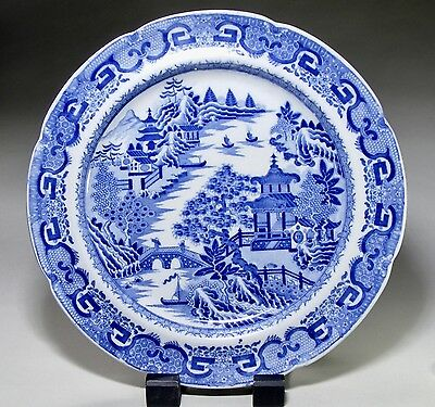 Early 19Th Century Blue And White Pearlware Willow Pattern Plate