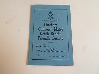 Chatham Gunners' Mates Death Benefit Friendly Member Payment Card 1937 ALSOP