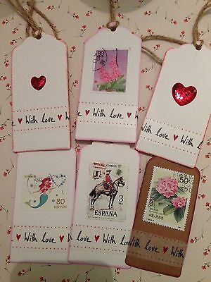exquisite all occasions hand made 'with love' gift tags, Valentines, Birthdays,