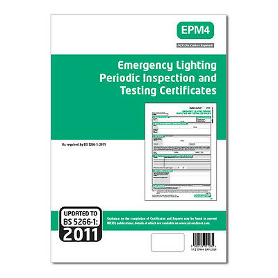 2 Off Emergency Lighting Periodic Inspection & Testing Certificates Pads - EPM4