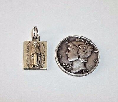 VINTAGE Sterling Silver MIRACULOUS MEDAL Miniature Square Charm