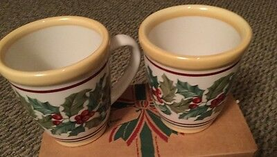 ~Longaberger~American Holly~Christmas Mugs~Set of TWO~In Original Box~