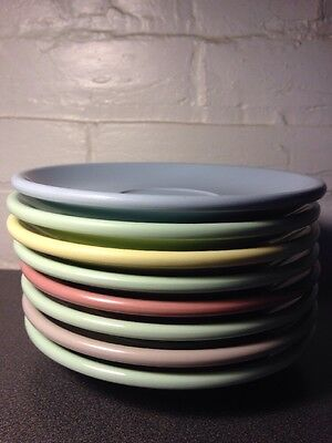 Vintage Boonton Ware Melmac Malloware Saucers Multi Colored Set Of Eight