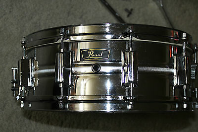 """Pearl Chrome 14"""" Snare Drum , Case & Stand Made In Japan"""
