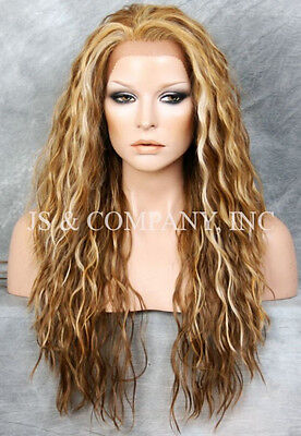 Blonde mix  HEAT SAFE Lace Front Wig Wispy Wavy Long Layered NGFT 2216