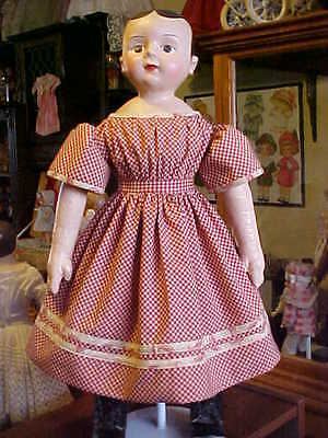 "Antique Repro Burgundy Check Dress For 22-25""  Izannah Walker, Greiner, China l"
