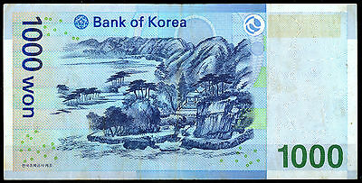 South Korea Bank Notes : Used 1000 Won 2007 Old Paper Money Bill 1,000