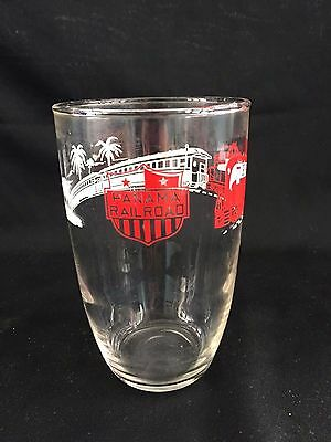 Vintage Panama Railroad Red White Clear Tumbler Glass Rr 5""
