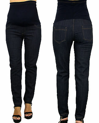 Trendy Maternity Skinny Jeans With Elastic Faux Pocket Belly Band S M L XL New