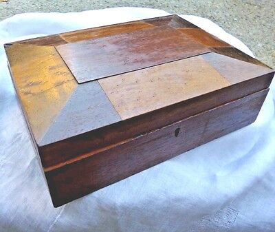 Antique Wood Hinged  Jewelry Trinket Box