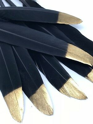 5pcs 10-16cm Hand Printed GOLD TIP BLACK Goose Feathers DIY Art Craft Decor Cake