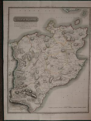 1822 LARGE DATED MAP CAITHNESS SHIRE JOHN THOMSON ATLAS of SCOTLAND WICK STROMA
